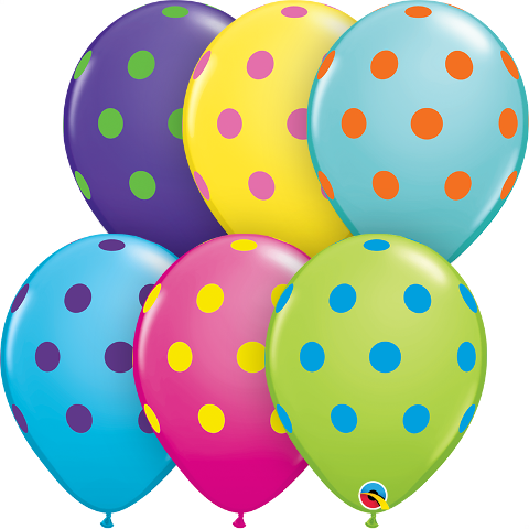 """11"""" big polka dots colorful latex"""