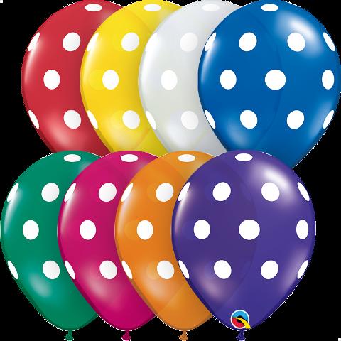 """11"""" big polka dots jewel assortment latex"""