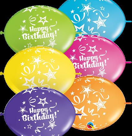 "12"" birthday quicklink tropical assortment latex"
