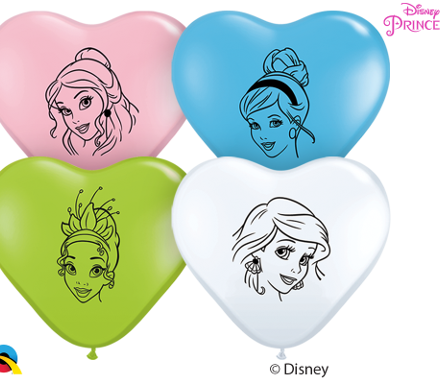 """6"""" disney princess face heart shape latex"""