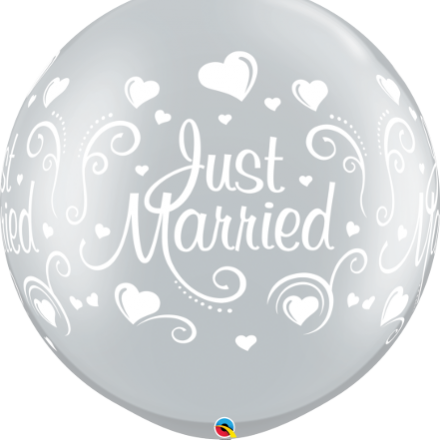 """30"""" just married hearts silver latex"""