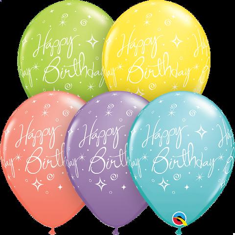 "11"" birthday elegant sparkles & swirls sorbet assortment latex"