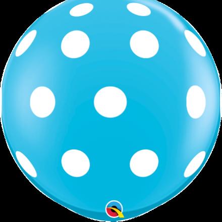 3' Robins Egg Blue Big Polka Dots Latex