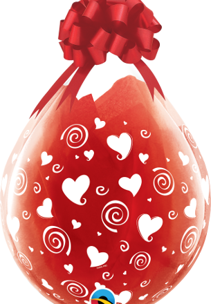 """18"""" Swirling Hearts clear stuffing latex balloon"""