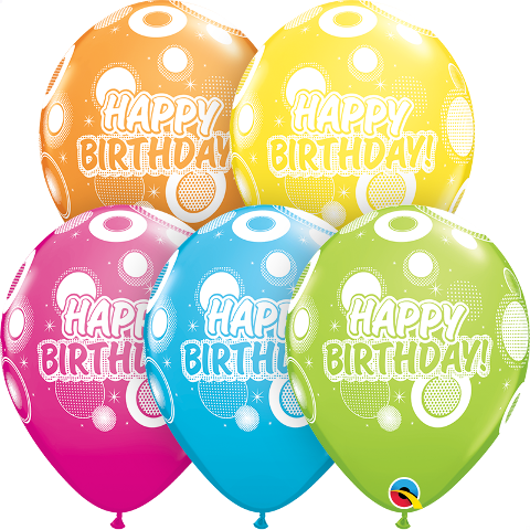 birthday dots and glitz latex
