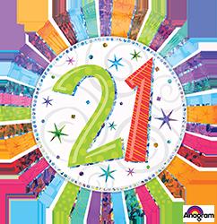 """18"""" Radiant Birthday 21 mylar"""